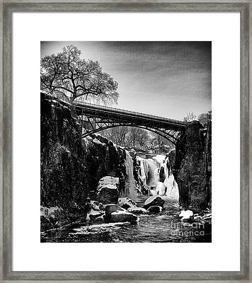 The Great Falls Of Paterson In Black And White Framed Print by Mark Miller