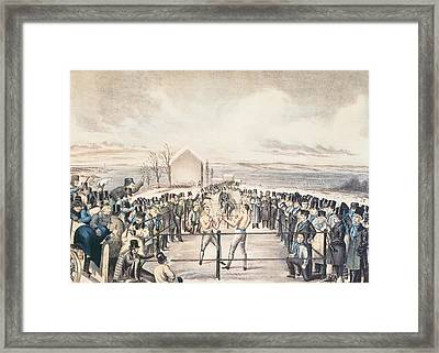The Great Fight Between Tom Hyer And Yankee Sullivan Framed Print by James S Baillie