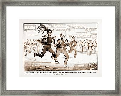 The Great Footrace For The Presidential Purse 100 Framed Print by Litz Collection