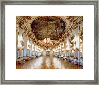 The Great Gallery Showing The Rococo Decorative Scheme Of Gilded Ornamental Framework And White Framed Print by .