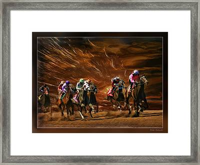 The Great Horse Race Framed Print