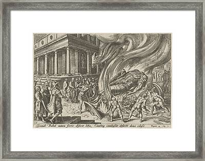 The Great Idol Of Baal Fired And Destroyed With Hammers Framed Print by Artokoloro