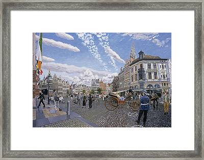 The Great Market Square In Antwerp, 1996 Oil On Board Framed Print by Huw S. Parsons