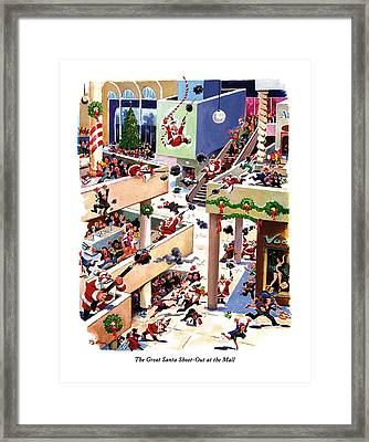 The Great Santa Shoot-out At The Mall Framed Print by Eldon Dedini