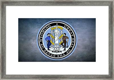 The Great Seal Of The State Of Wyoming Framed Print by Movie Poster Prints