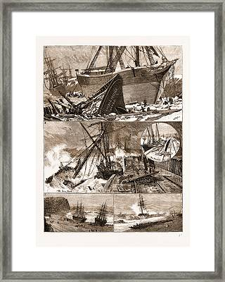 The Great Snowstorm And Gale, Wrecks On The Coast Framed Print by Litz Collection