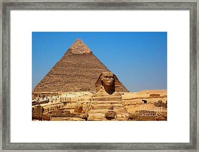Framed Print featuring the photograph The Great Sphinx Of Giza And Pyramid Of Khafre by Joe  Ng