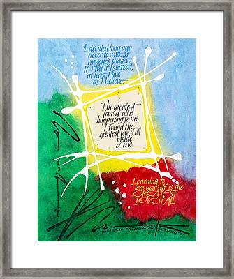 The Greatest Love Of All Framed Print by Sally Penley