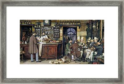 The Greek Cafe In Rome Framed Print by Ludwig Passini