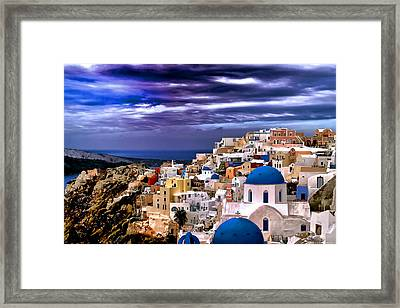 The Greek Isles Santorini Framed Print by Tom Prendergast