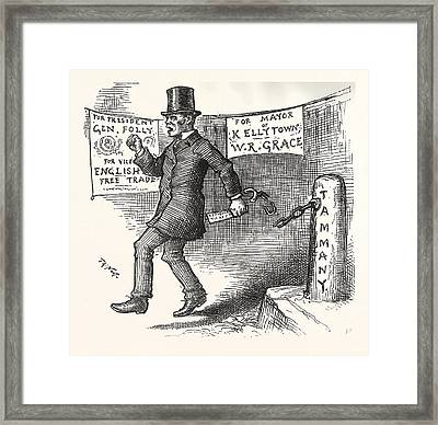 The Greek Slave Emancipates Oill Vote Aginst Tariff Framed Print by American School