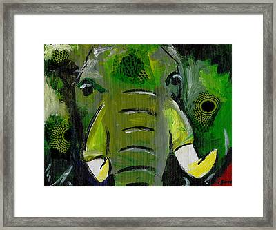 The Green Elephant In The Room Framed Print