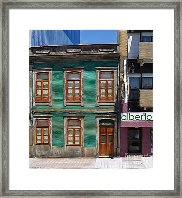 The Green House - Oporto Framed Print by Mary Machare