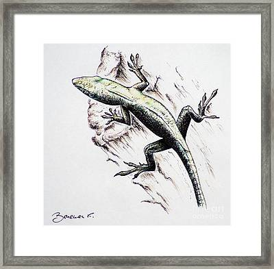 The Green Lizard Framed Print by Katharina Filus