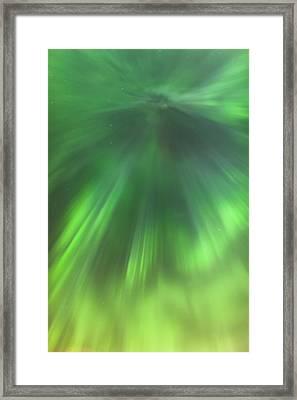 The Green Northern Lights Corona Framed Print