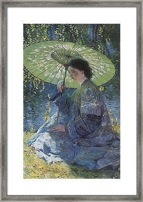 The Green Parasol Framed Print by Guy Rose