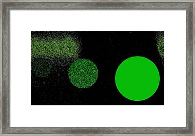 The Green Planets - Dots 3 Framed Print
