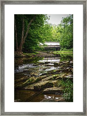 Framed Print featuring the photograph The Green Sergeants Covered Bridge II by Debra Fedchin
