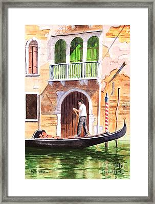 The Green Shutters - Venice Framed Print by Bill Holkham