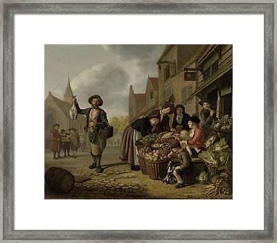 The Greengrocers Shop De Buyskool, Jan Victors Framed Print