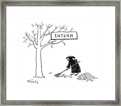 The Grim Reaper Rakes Up A Pile Of Leaves Framed Print