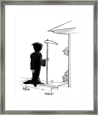 The Grim Reaper Stands At A Man's Door Step -- Framed Print