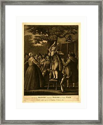 The Grinning Match, A Humourous Scene At A Country Fair Framed Print by English School