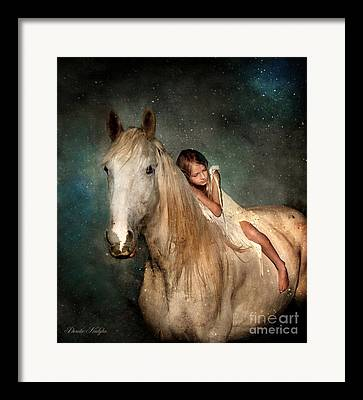 Gray Horses Digital Art Framed Prints