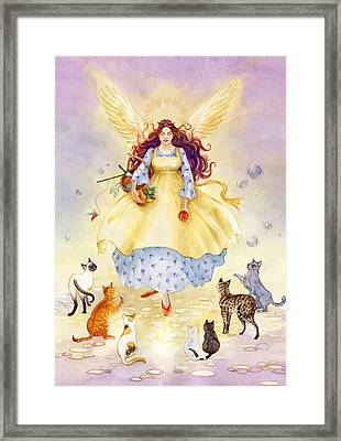 The Guardian Angel Of Cats Framed Print by Janet Chui