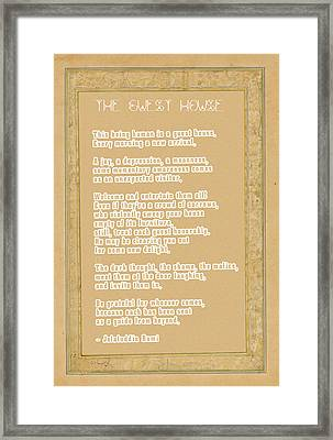 The Guest House Poem By Rumi Framed Print by Celestial Images
