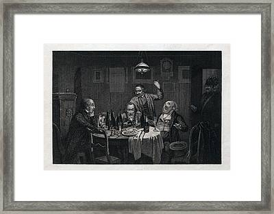 The Guests, 1864, Food And Drink, Table, Bottle, Bottles Framed Print