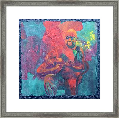 Framed Print featuring the painting The Guitar Player by Nancy Jolley