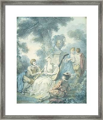 The Guitar Player Wc On Paper Framed Print by Jacques Philippe Caresme
