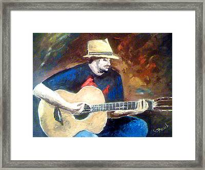 The Guitarist Framed Print by Soumya Bouchachi