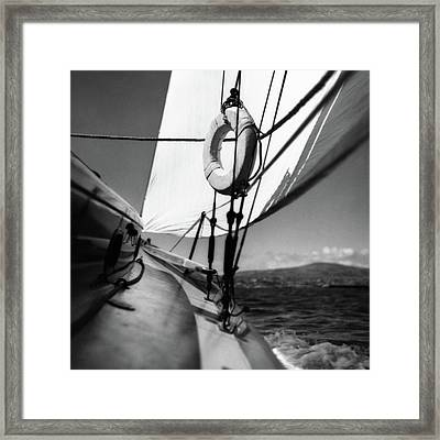 The Gunwale Of A Sailboat Framed Print by George Platt Lynes
