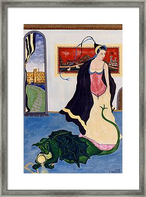 The Gypsy And The Dragon Painting Framed Print by Sally Rockefeller