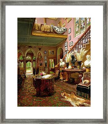 The Hall And Staircase Of A Country Framed Print by Jonathan Pratt