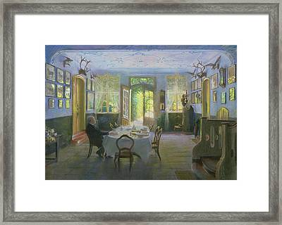 The Hall Of The Manor House In Waltershof Framed Print by Hans Olde