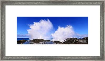 The Halona Blowhole Double Explosion Framed Print by Aloha Art
