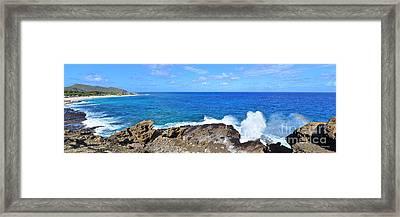 The Halona Blowhole Sandy Beach And Makapuu Point Framed Print by Aloha Art