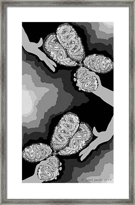Framed Print featuring the digital art The Hand-off by Carol Jacobs