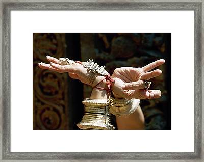 The Hands Of A Woman During An Indian Dance Framed Print by Arnaud de Rosnay