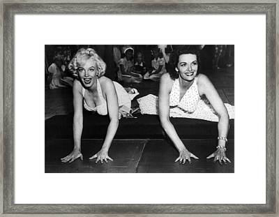 Marilyn Monroe And Jane Russell  Framed Print