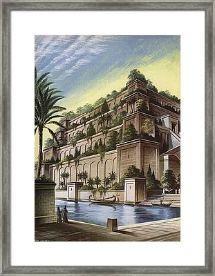 The Hanging Gardens Of Babylon Colour Litho Framed Print by English School