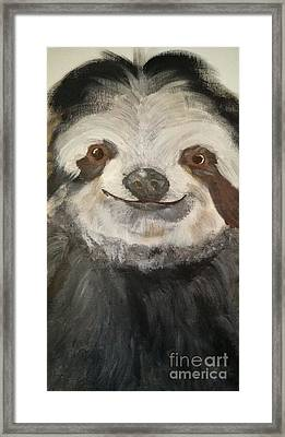 The Happy Sloth Framed Print by Kelly Williams