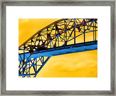 The Harbor Bridge Corpus Christi Texas Mostly Sunny Framed Print by Wendy J St Christopher