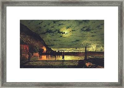 The Harbour Flare Framed Print by John Atkinson Grimshaw
