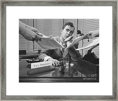 The Harried Overworked Boss Framed Print by The Harrington Collection