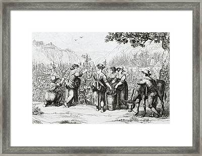 The Harvest In Tivoli, La Vendemmia In Tivoli Framed Print by Italian School