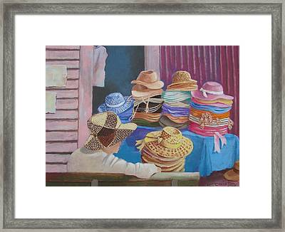 Framed Print featuring the painting The Hat Buyer by Tony Caviston